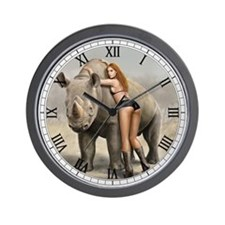 Girl And Rinho Wall Clock