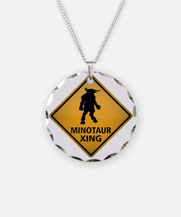 Minotaur Crossing Sign Necklace