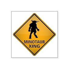 "Minotaur Crossing Sign Square Sticker 3"" x 3"""
