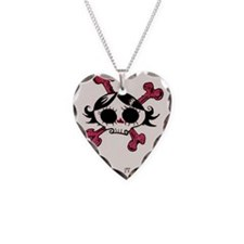 pink cross bones skull Necklace