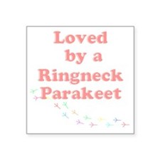 "Loved by a Ringneck Parakee Square Sticker 3"" x 3"""