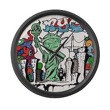 graffiti new york city Large Wall Clock
