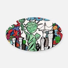 graffiti new york city Oval Car Magnet