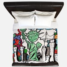 graffiti new york city King Duvet