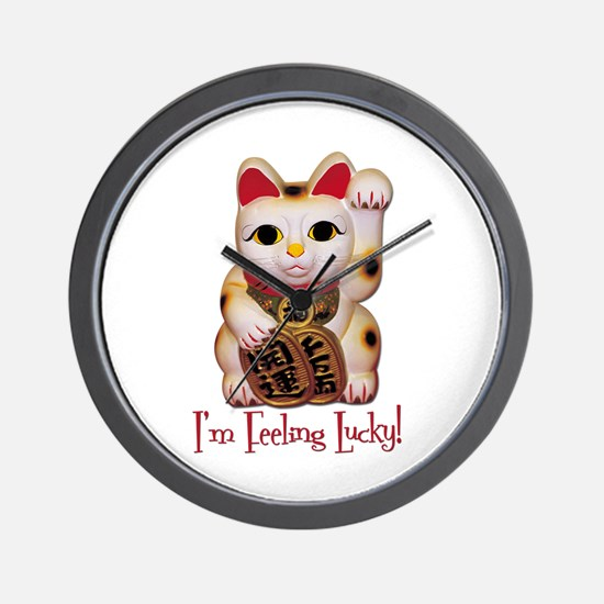 I'm Feeling Lucky Cat Wall Clock