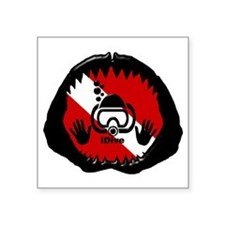 "iDive Scuba Shark Jaw Square Sticker 3"" x 3"""
