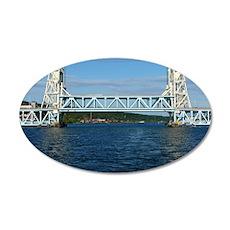 Portage Lake Lift Bridge 35x21 Oval Wall Decal