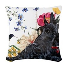 Scottish Terrier Hummingbird Woven Throw Pillow