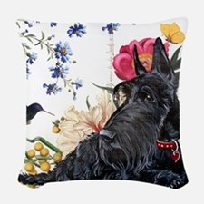 Scottish Terrier Hummingbird Woven Throw Pillow