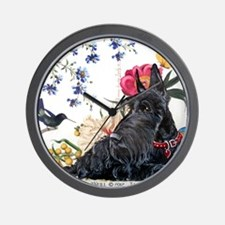 Scottish Terrier Hummingbird Wall Clock