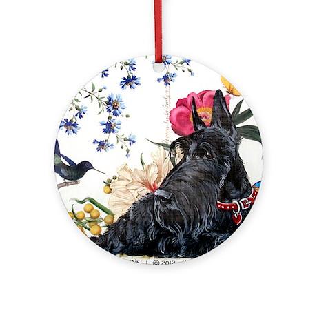 Scottish Terrier Hummingbird Round Ornament