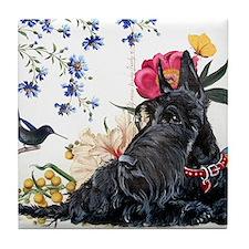 Scottish Terrier Hummingbird Tile Coaster