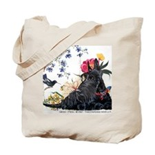 Scottish Terrier Hummingbird Tote Bag