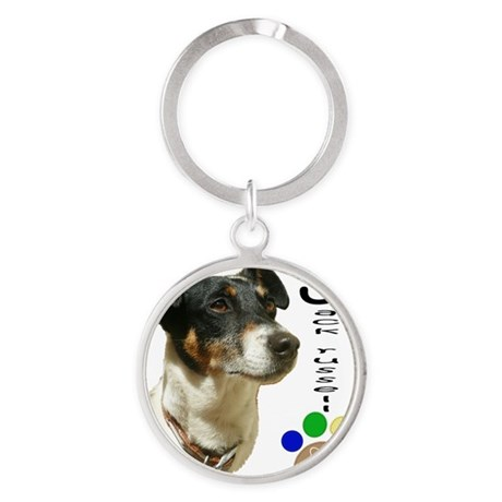 Jack Russell Dog and Paw Print Round Keychain