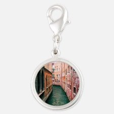 Canal in Venice Italy Silver Round Charm