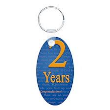 2 Years Recovery Slogan Bir Aluminum Oval Keychain