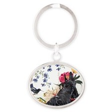 Scottish Terrier and Hummingbird Oval Keychain