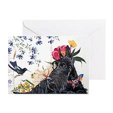Scottish Terrier and Hummingbird Greeting Card