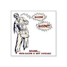 "zombie-bacon-LTT Square Sticker 3"" x 3"""