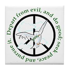 Do Good and Seek Peace Dove Tile Coaster