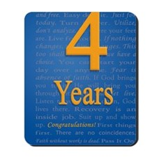 4 Years Recovery Slogan Birthday Card Mousepad