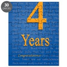 4 Years Recovery Slogan Birthday Card Puzzle