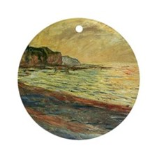 Beach at Pourville Round Ornament