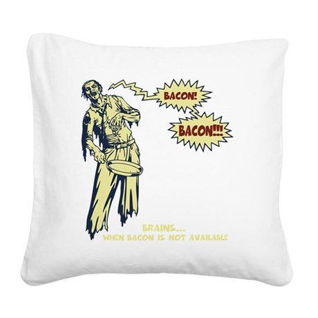zombie-bacon-DKT Square Canvas Pillow