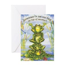 tower of frogs Greeting Card