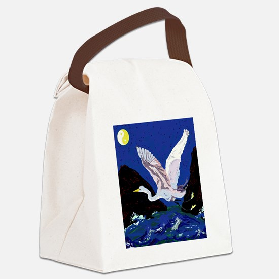 White Crane Spreads Its WIngs Canvas Lunch Bag