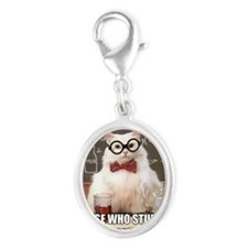 Chemistry Cat Silver Oval Charm