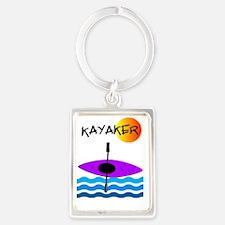 Kayaker 1 purple Portrait Keychain