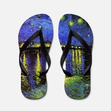 Van Gogh Starry Night Over The Rhone Flip Flops