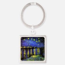 Van Gogh Starry Night Over The Rho Square Keychain