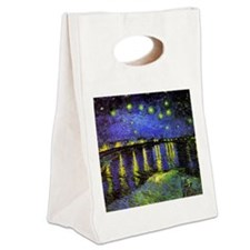 Van Gogh Starry Night Over The R Canvas Lunch Tote