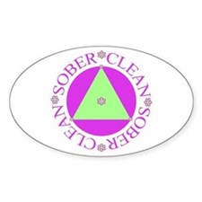 Clean and Sober Circle Flower Triangle Decal