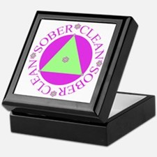 Clean and Sober Circle Flower Triangle Tile Box
