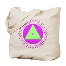 Clean and Sober Circle Flower Triangle Tote Bag