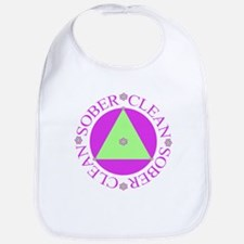 Clean and Sober Circle Flower Triangle Bib