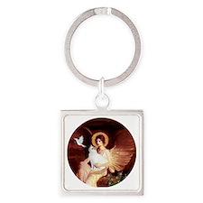 Angel 1-Turkish Van cat Square Keychain