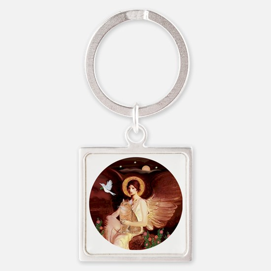 Angel 1 - Orange Tabby Cat Square Keychain