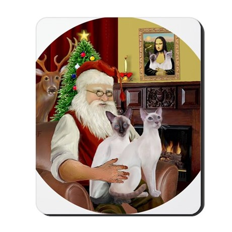 Santa and his two Siamese cats Mousepad
