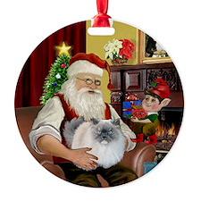 Santa - Himalayan Cat (smoke) Ornament