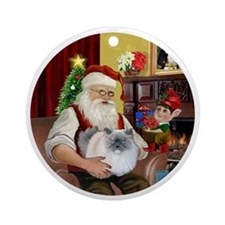 Santa - Himalayan Cat (smoke) Round Ornament