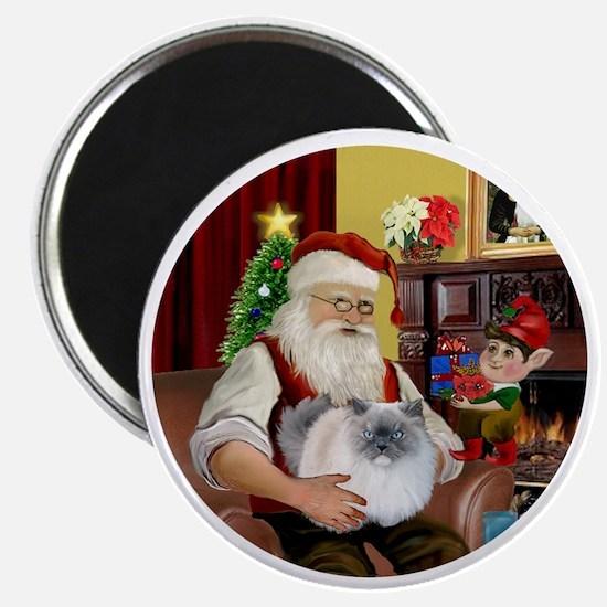 Santa - Himalayan Cat (smoke) Magnet