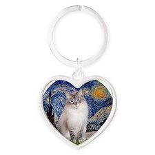 Starry Night - Ragdoll Cat (Lilac b Heart Keychain