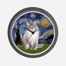 Starry Night - Ragdoll Cat (Lilac bi) Wall Clock