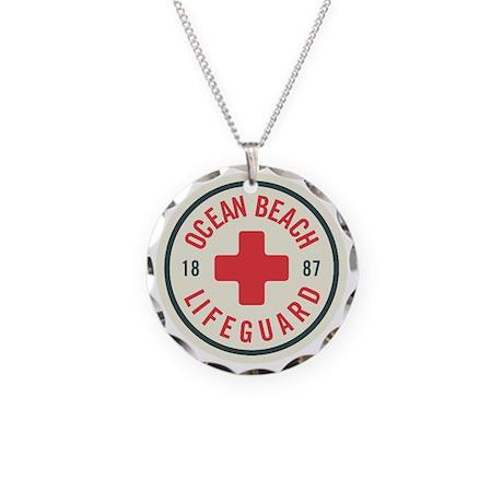 Ocean Beach Lifeguard Patch Necklace Circle Charm