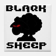 Transparent blaQk Sheep Logo Tile Coaster