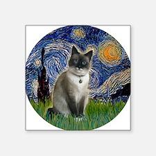 "Starry - Snow Shoe Cat Square Sticker 3"" x 3"""
